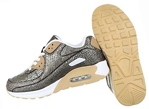 Damen Schuhe Freizeitschuhe Sneakers Turnschuhe Gold Gold