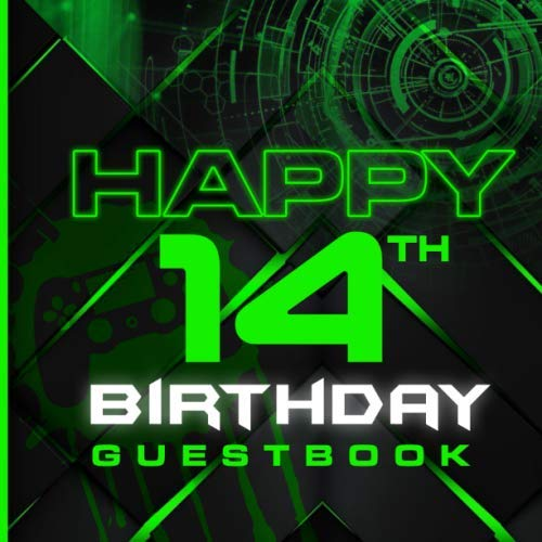 Happy 14th: Birthday Guest Book I For Gamers Only I Teenage Boys or Adult Gamers  I 90 Guests I Gaming Geek Keepsake I Nerd Party Supplies for Men I ... I Birthday Gift Idea for Young and Older Men