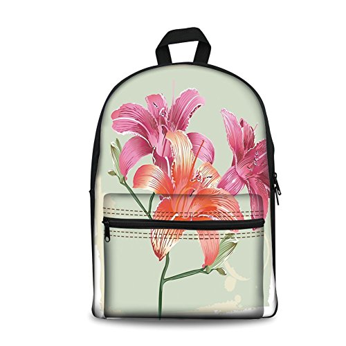 (Design the fashion fo Kids Back to School Backpack, Canvas Book Bag,Vintage Floral,Lily Flowers on Grunge Backdrop Gardening Plants Growth Botany,Pale Green Salmon Pink.)