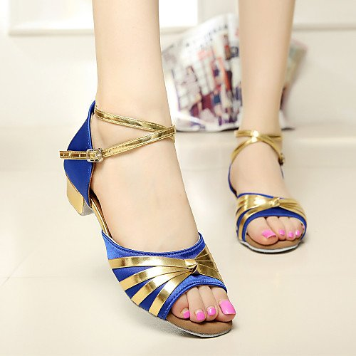 and Women Royal More Q Heel Kids' Colors T Dance Blue T Shoes Satin Chunky Buckle Blue Royal tqEgwAUFS