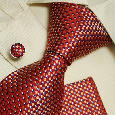 Red Theme neck ties christmas gifts for dad accessories silk tie cuff links handkerchiefs
