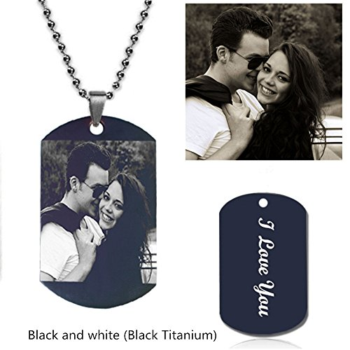Memorial Portrait - Personalized Photo Necklace Customize Pendant Portrait Necklace Dog Tag Memorial Jewelry Christmas Gift (Black Titanium Rectangle-Black and white 18)