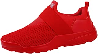Chaussures ADESHOP Mode Hommes Coupe éLastique Sport en Cours D'ExéCution à La Cheville à Bout Rond Chaussures DéContractéEs Couleur Unie Tissage Volant Surface Nette Respirant AntidéRapant Baskets