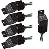 5 PCS Car Truck Relay Socket Harness Kit 4 Pin 4 Pre-wired 12V 40 Amp SPST, Automotive Auto Switches & Starters Set (1 Year Warranty)
