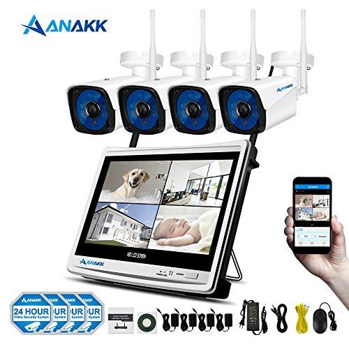 Anakk 4 Channel Wireless Security Camera System CCTV Kit with 12″ LCD HD Monitor 1080P NVR 4PC 960P IP Bullet Cameras Outdoor Indoor Home Surveillance Motion Detection Remote View(NO Hard Drive)