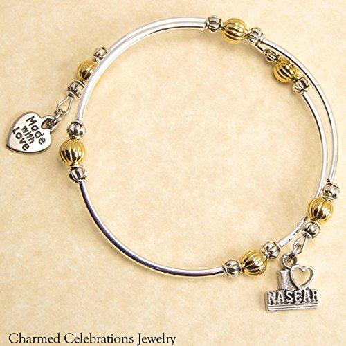 I Love Nascar Wrap Bracelet Handmade Themed Charm Bracelet Jewelry Gift. Gold, Silver or Black Bead Option