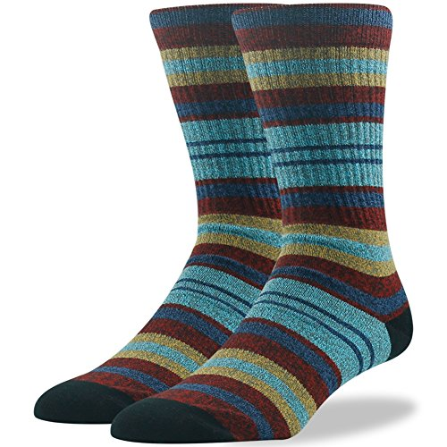 Feet Printed Ribbon - Cotton Dress Socks Fashion Designer Socks for Men Stripe Printed  Ristake Men's Combed Cotton Striped Patterned Stylish Colorful Multi Stripe Bright Color Arch Support Classic Crew Dress Socks 1 Pair-stripe Red Blue Medium
