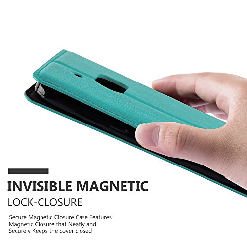 Cadorabo - Funda Book Style Cuero Sintético en Diseño Libro HTC ONE M10 (4.Generación) - Etui Case Cover Carcasa Caja Protección con Imán Invisible en NEGRO-ANTRACITA TURQUESA-PETROL