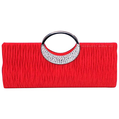 Wocharm Satin Rhinestone Pleated Evening Party Handbag Wedding Clutch Purse Top Handle Evening Clutch Red