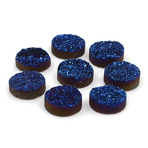 Justinstones 5pcs 20mm Metallic Blue Coated Drusy Druzy Crystal Round Cab -