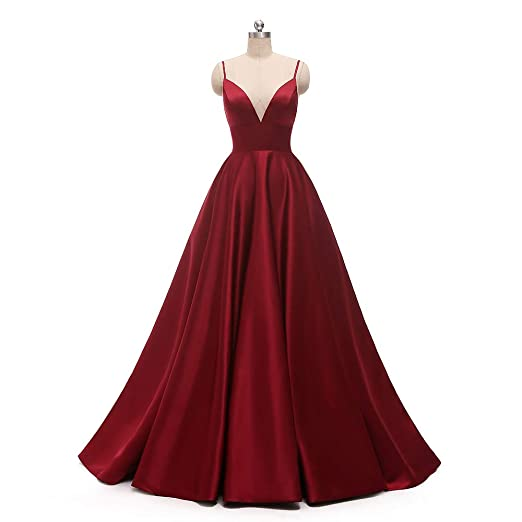 Women's Spaghetti Strap V Neck Long Prom Dresses