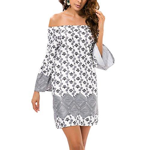 Mode Frauen Lose Casual Off Shoulder Mini Kleid Damen Sommer Strand ...