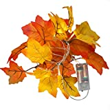 2m 20 LED Artificial Autumn Maple Leaves String Wire Lights Fall Garland Battery Operated Decoration for Christmas Halloween Wedding Party Holidays Home Garden Bedroom