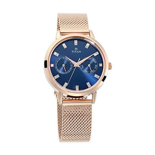 Titan Sparkle Women's Multi-Functional Dress Watch with Swarovski Crystals | Quartz, Water Resistant, Mesh Band | Gold Band and Blue Dial