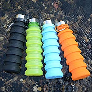 Nefeeko Collapsible Water Bottle, Reuseable BPA Free Silicone Foldable Water Bottles for Travel Gym Camping Hiking…