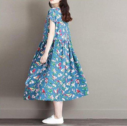 Coolred Manches Courtes Impression Lin De Style Chinois Et Coton Plissé Robe Lâche Bleu