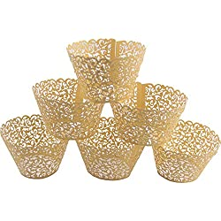 Mydio Set of 50 Cupcake Wrappers Wedding Birthday Decorations, (50 Pack)