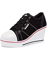 Women's Canvas Fashion Sneaker Wedges High-Heeled...