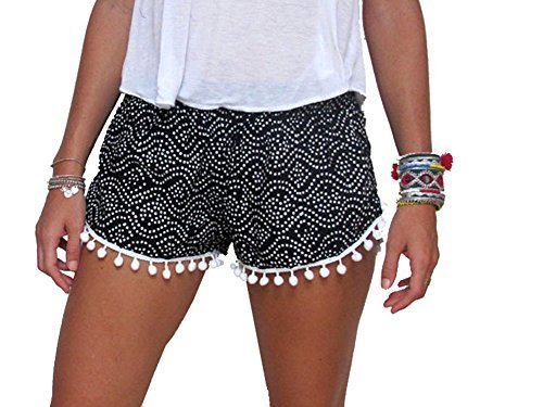 Women Summer High Waisted Tassel Floral Tribal Beach Casual Shorts Pants Dot Black S