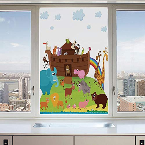 3D Decorative Privacy Window Films,Various Safe Animals Two of Every Kind Boarding Noahs Ark Clip Art Design Print,No-Glue Self Static Cling Glass film for Home Bedroom Bathroom Kitchen Office 24x36 I