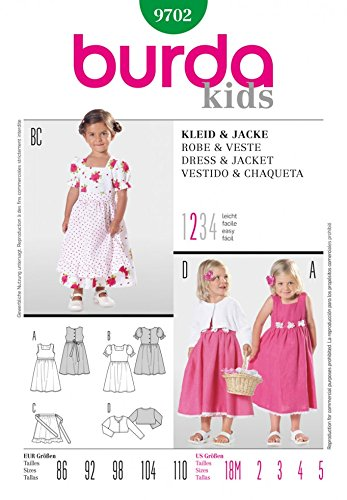 Burda Childrens Easy Sewing Pattern 9702 Dresses, Apron & Jacket