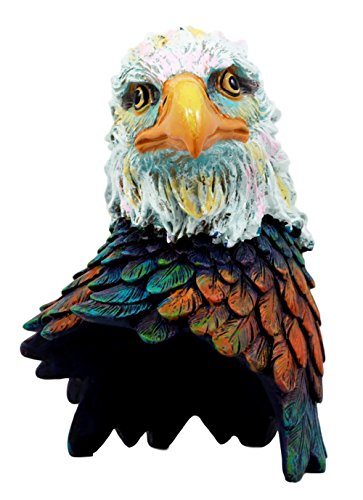 Atlantic Collectibles Wild & Free Colorful American Bald Eagle Bust Figurine 7.5