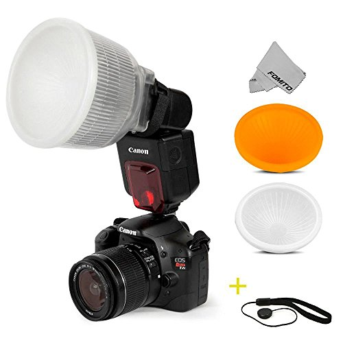 Fomito Universal Cloud Lambency Flash Diffuser + Cover White & Orange Set + Anti-lost Rope Black