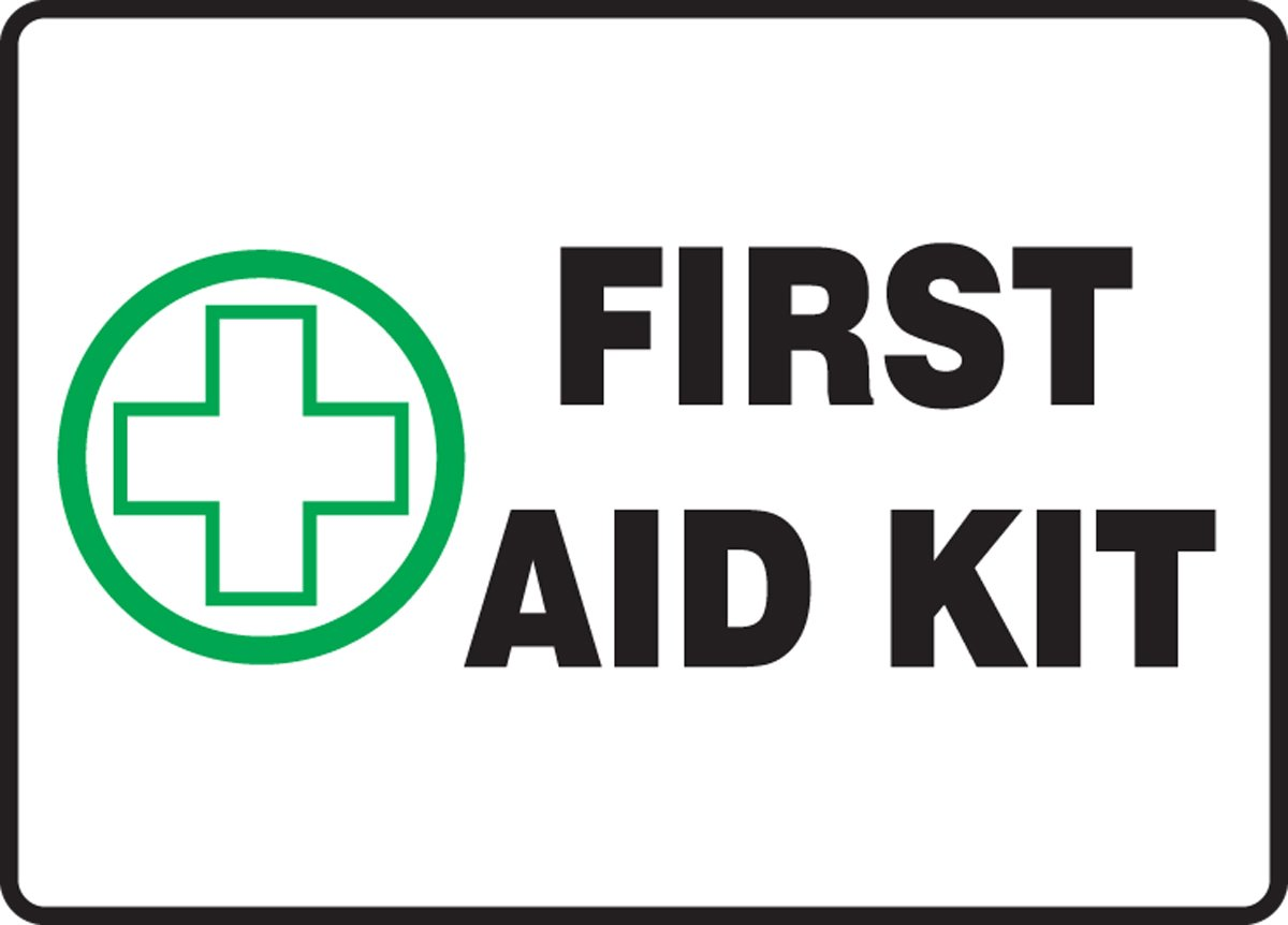 Accuform Signs MFSD441VS Adhesive Vinyl Safety Sign, Legend''FIRST AID KIT'' with Graphic, 7'' Length x 10'' Width x 0.004'' Thickness, Green/Black on White