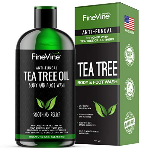 100% Natural Tea Tree Body Wash| Organic Tea Tree Oil Body Wash Made in USA| Cleansing Body Wash Fights off Jock Itch & Nail Fungus| Antifungal Body Wash Treats Athletes Foot, Ec-zema, Ring Worm, Odor ()