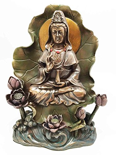 - Bodhisattva Buddha Kuan Yin Seated on Lotus In Meditation Sculpture Statue