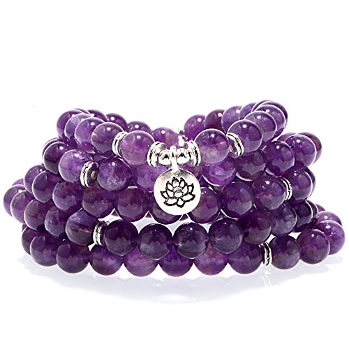 ZHEPIN 8MM Amethyst 108 Mala Beads Charm Bracelet for Men Women Yoga Bracelet Necklace