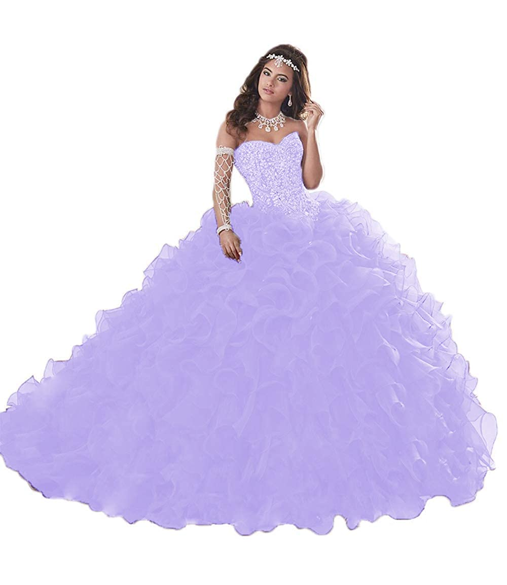 Lavendar Wanshqin Women's Heavy Beaded Organza Ruffle Quinceanera Dresses Sweetheart Prom Ball Gowns