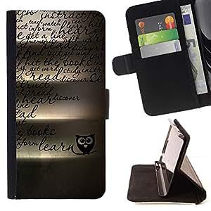 For Samsung Galaxy Note 3 III Case , Búho enseñe escuela romántica- la tarjeta de Crédito Slots PU Funda de cuero Monedero caso cubierta de piel