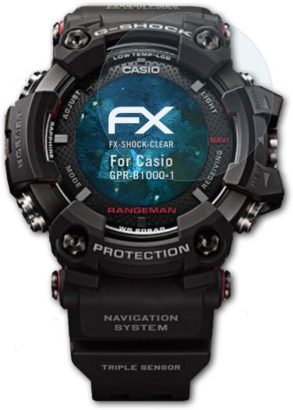 atFoliX Antichoque Película Protectora para Casio GPR-B1000-1 Protector Película, Ultra Clara y Que Absorbe los Golpes FX Película Protectora (3X)
