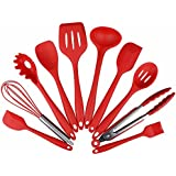 Lysport Home Silicone Kitchen Utensils Set(10 Piece) Heat Resistant Baking & Cooking Utensils Non Stick - Non Scratch Cooking Utensils Kitchen Good Helper (Red)