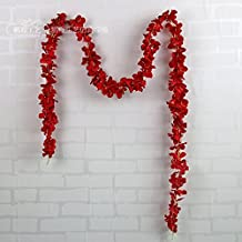 6.56ft String Fake Artificial Flowers Vine Ivy Leaf Garland Floral Home Decor (red)