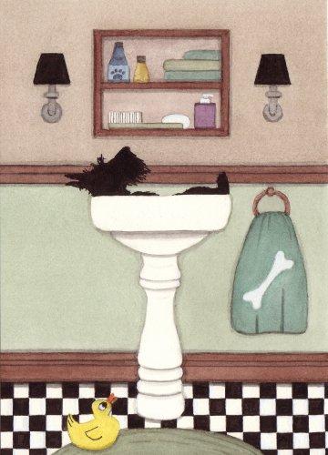 Scottish terrier (scottie) fills a sink at bath time / Lynch folk art print