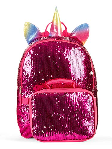 Wonder Nation Unicorn 16' Backpack and Lunch 2 Way Sequin Pink Critter Set