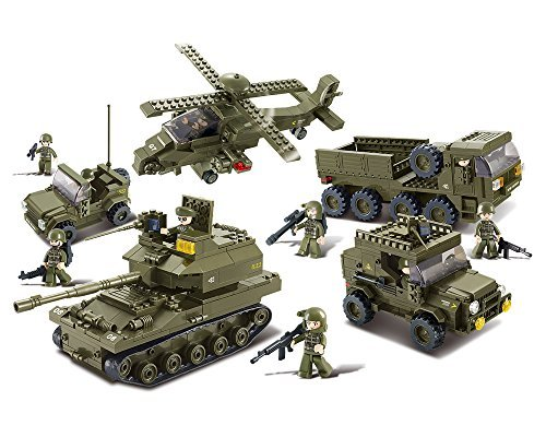 Sluban M38-B0311 Ground Forces Joint Attack Blocks Army Bricks Toy – Hind Helicopter & T-90 Main Battle Tank & Army Personnel Carriers & Army Jeep & Prowl Car (Tank Real Army)