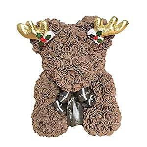 Moonter 40cm Rose Bear Handmade Rose Flower Teddy Bear PE Artificial Rose Gift for Anniversary, Valentine's Day, Wedding, Birthday, Women's Day, Mother's Day, Christmas (15.7 inch, Coffee) 37