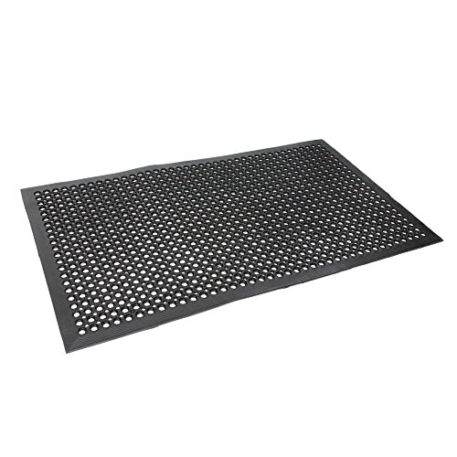 �� Anti-Fatigue Drainage Rubber Floor Mats for Kitchen Restaurant Bar Office Garage, Non-slip Water-Proof, Grease Resistant Matting Black (Drainage Mat Grease)