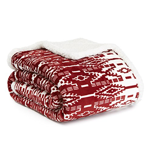 Eddie Bauer San Juan Red Plush Throw, 50x60 -