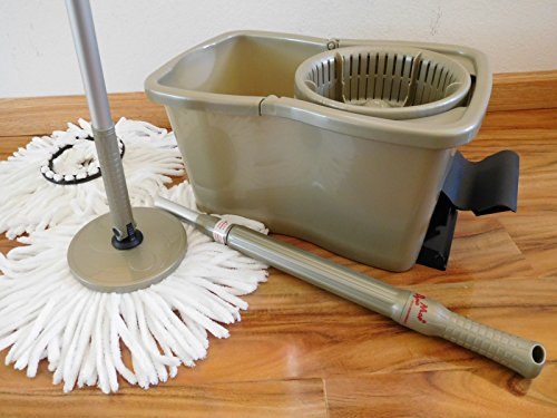 - DynaMop Extra Champagne Gold Dual Function nonpareil Spin mop with 3 Premium Mop-Heads in Total (See $15 Value Free Spiky Offer Inside) by Original Spin mop Developer/Inventor