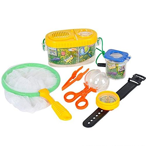 (Fun Outdoor Toy Insect Bug Adventure Set; Bug Catcher Set for Kids Backyard Exploration Kit - Bug Collection Kit - Includes Butterfly Net, Compass, Tweezers, Transfer Capsule and Bug Carrier)