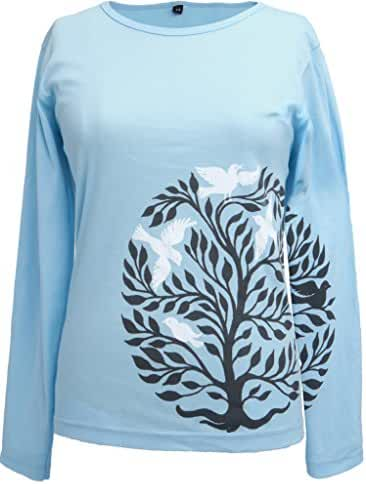 Green 3 Women's 100% Organic Cotton Long Sleeve Circle Tree T-Shirt