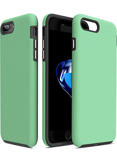 TOZO for iPhone 7 Plus/iPhone 8 Plus Case, Armor Series Football Pattern Texture Soft Touch Anti-Slip Grip [Shock Proof] Ultra Rugged Dual Layer Protect Case [Black+Green]