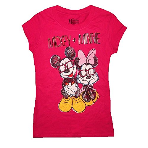 """Disney Junior's Mickey & Minnie Mouse """"Ready for School"""" T-Shirt (Large, Hot Pink)"""