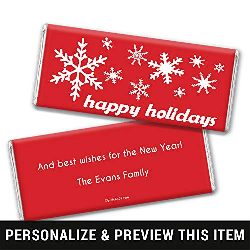 Happy Holidays Personalized Chocolate Bar Wrappers Only Holiday Snowflakes (25 Wrappers) Red