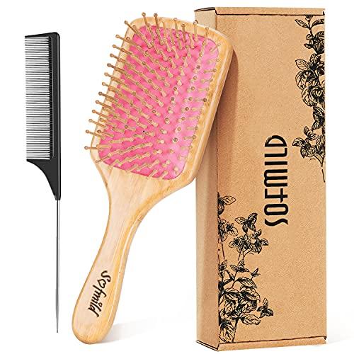 Hair Brush- Wooden Paddle Hair Brushes for Women Men and Kids Make Thin Long Curly Hair Health and Eco-Friendly Massage Scalp Brush, Detangler Tail Comb Hair Brush Set(PINK)