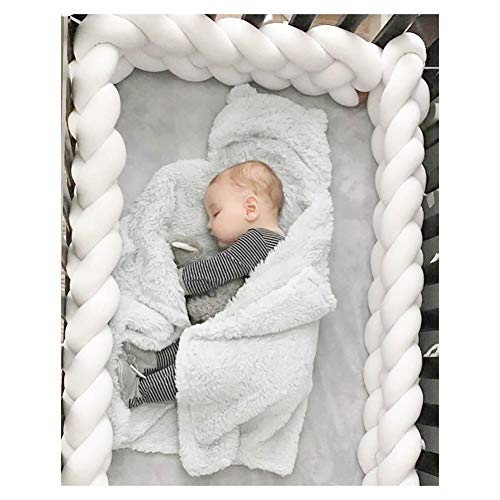 Baby Infant Crib Bumper Pads Knotted Braided Plush Nursery Bed Safety Rail Guard, Cradle Protector, Cot Sleep Bumper Pillow, Knot Ball,White, 3m